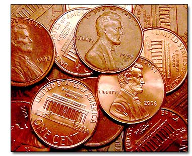 Go away pennies! Come back when you've matured into quarters.
